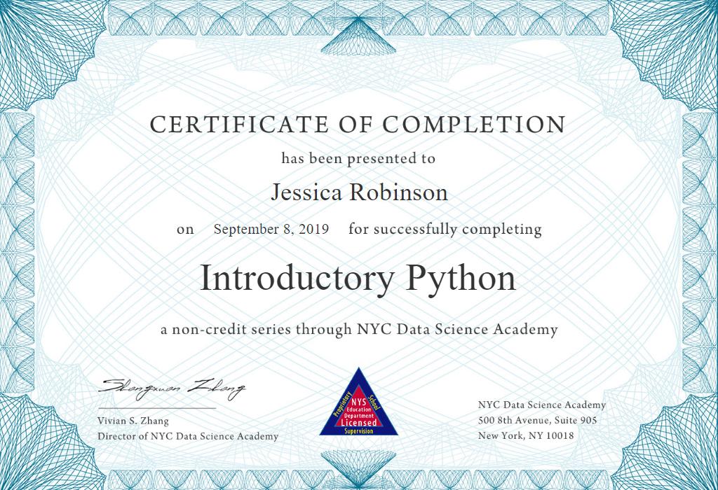 Python Course Certificate